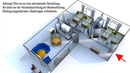 Grundriss der 57m² Wohnung auf dem Reiterhof