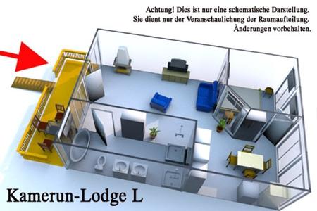 Grundriss der Kamerun Komfort-Lodge für 2 Personen in Land Kamerun
