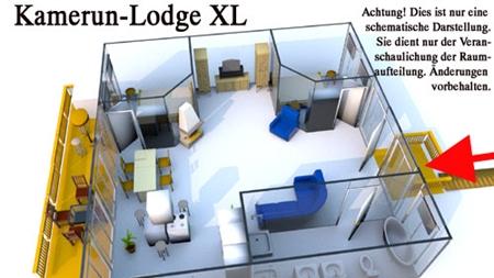 Grundriss der Kamerun Komfort-Lodge für 4 Personen in Land Kamerun